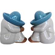 Mexican Sombrero Siesta Turquoise White Sleeping Man Bookends Pair Pepe Figures