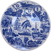 Kentucky Blue White Transferware Souvenir Plate