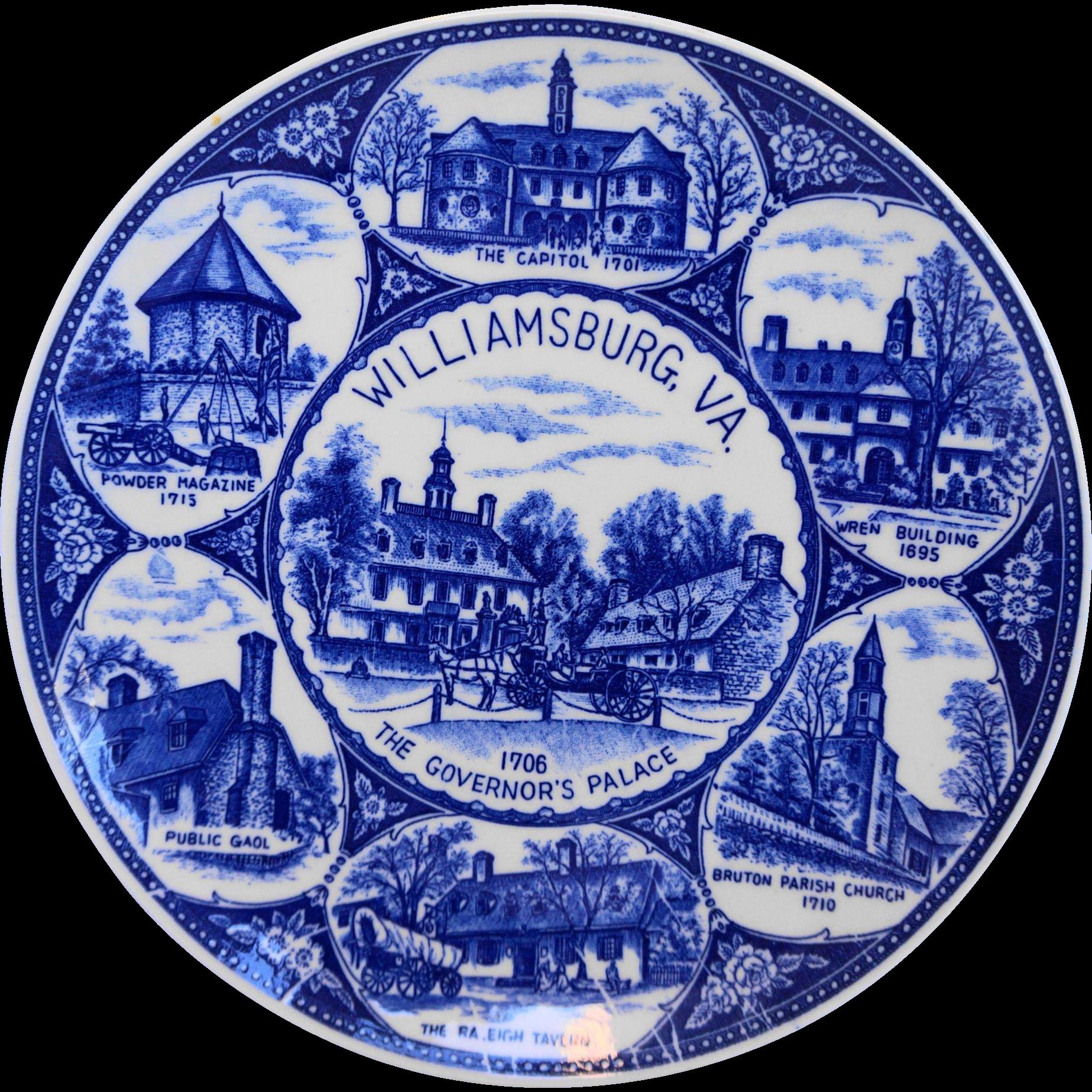 Williamsburg Virginia Cobalt Blue Souvenir Plate Made in Japan