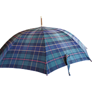 Vintage Polo Ralph Lauren Wexford Tartan Plaid Umbrella Leather Covered Handle