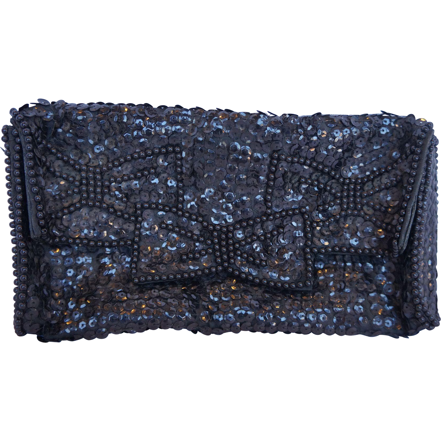 Black Sequins Satin Clutch Evening Bag 1960s