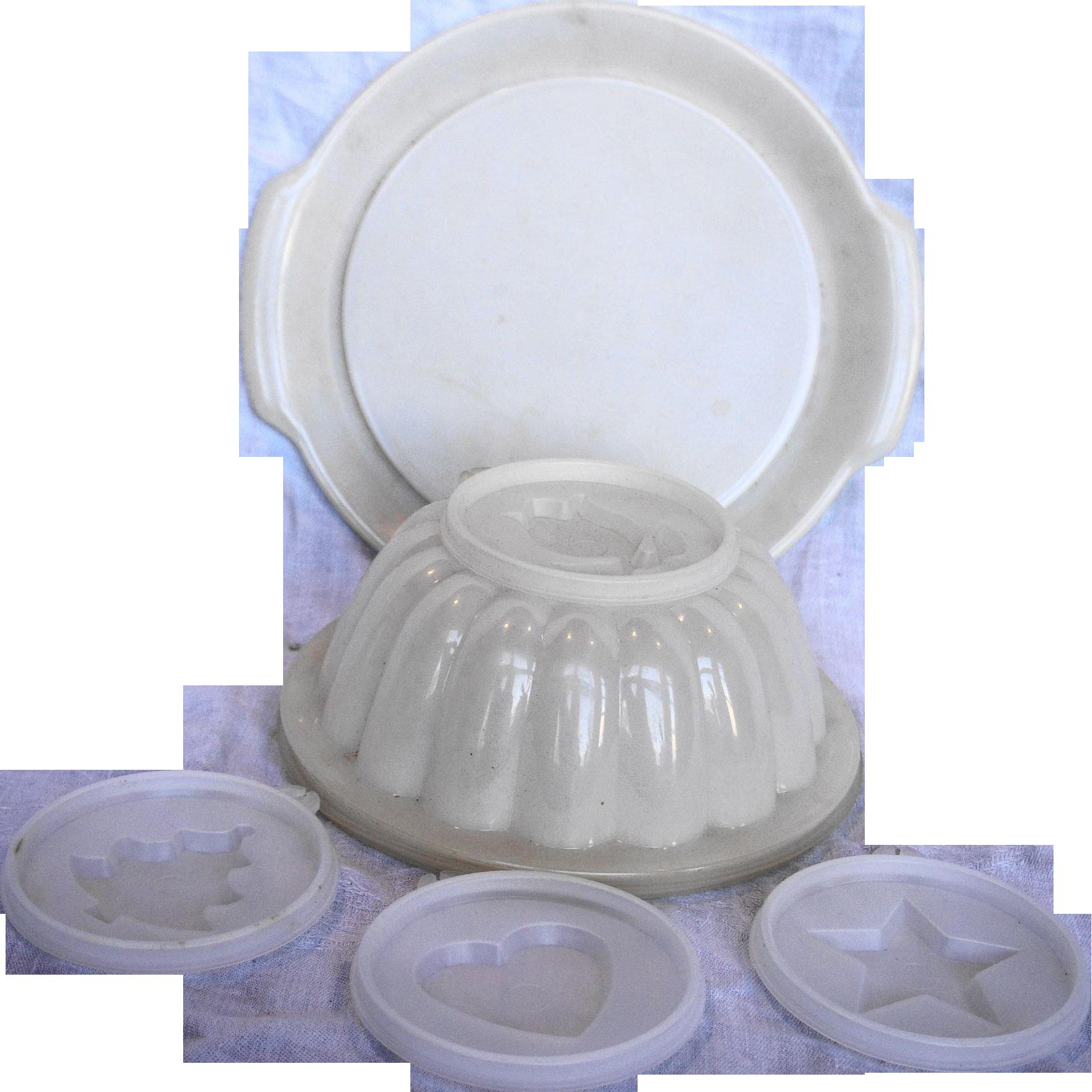 Tupperware Jel N Serve Sheer White Mold Set 1978