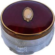 Vanity Dresser Jar Deep Red Guilloche Enamel Lid Glass Base 1930s