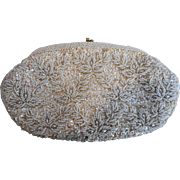 Cream Seed Beads Sequins Hand Made Hong Kong Evening Bag Purse Clutch