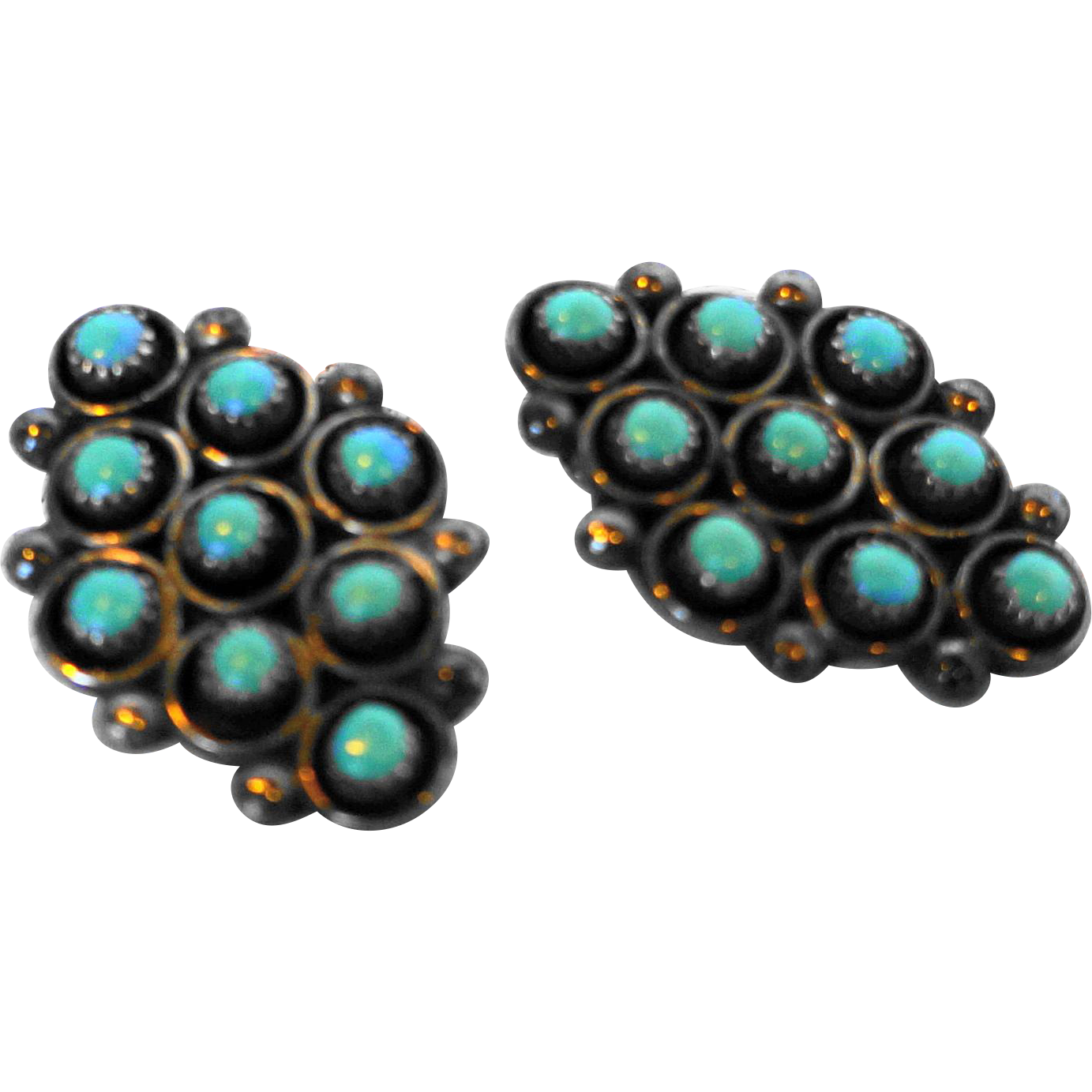 Native American Southwestern Sterling Turquoise Diamond Shape Clip Earrings