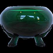 Viking Emeralite Emerald Green Flowerlite Rose Bowl Three Toed