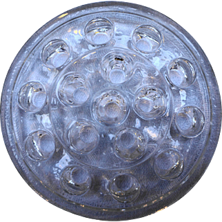 Clear Glass Flower Frog Large 16 Hole 5 IN