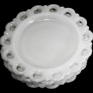Lace Edge White Milk Glass Anchor Hocking Salad Plates Set of 4