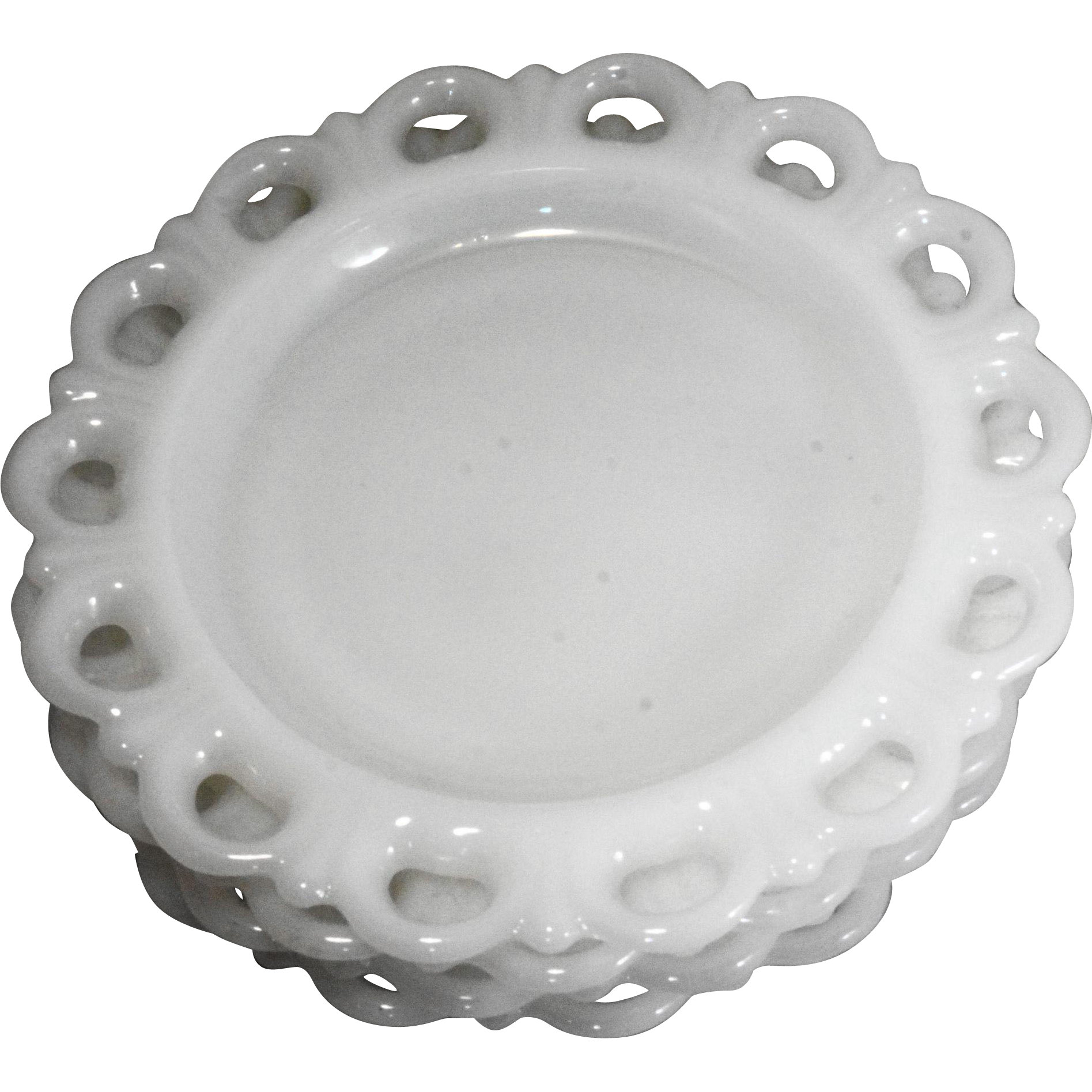 Lace Edge White Milk Glass Anchor Hocking Salad Plates Set of 4