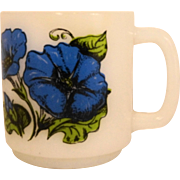Glasbake Morning Glory Language of Flowers Milk Glass Mug
