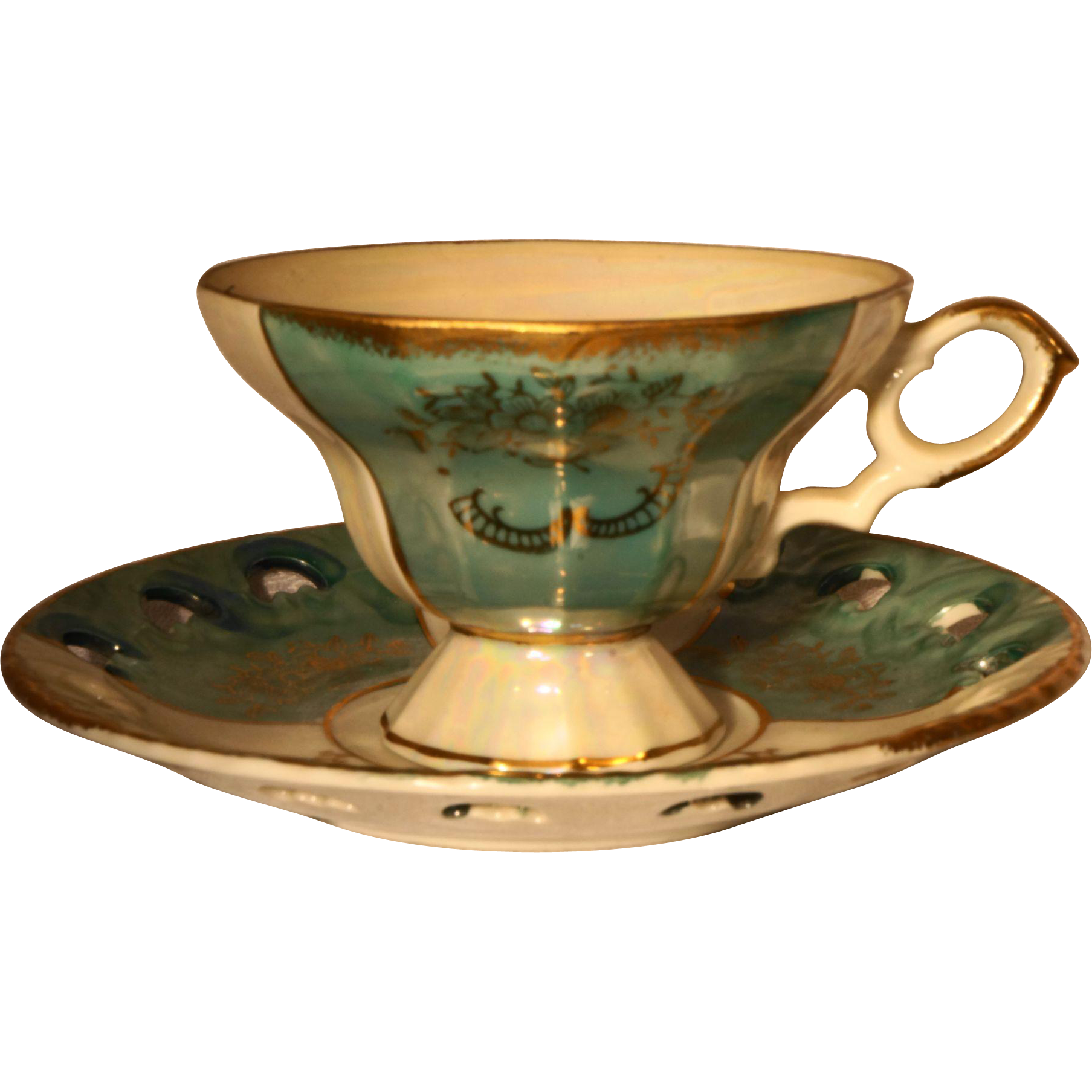 Green White Gold Hand Painted Mother of Pearl Pearlescent Cup Saucer Porcelain
