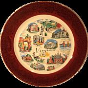 Virginia Souvenir Plate Burgundy Rim Gold Scroll Encrusted