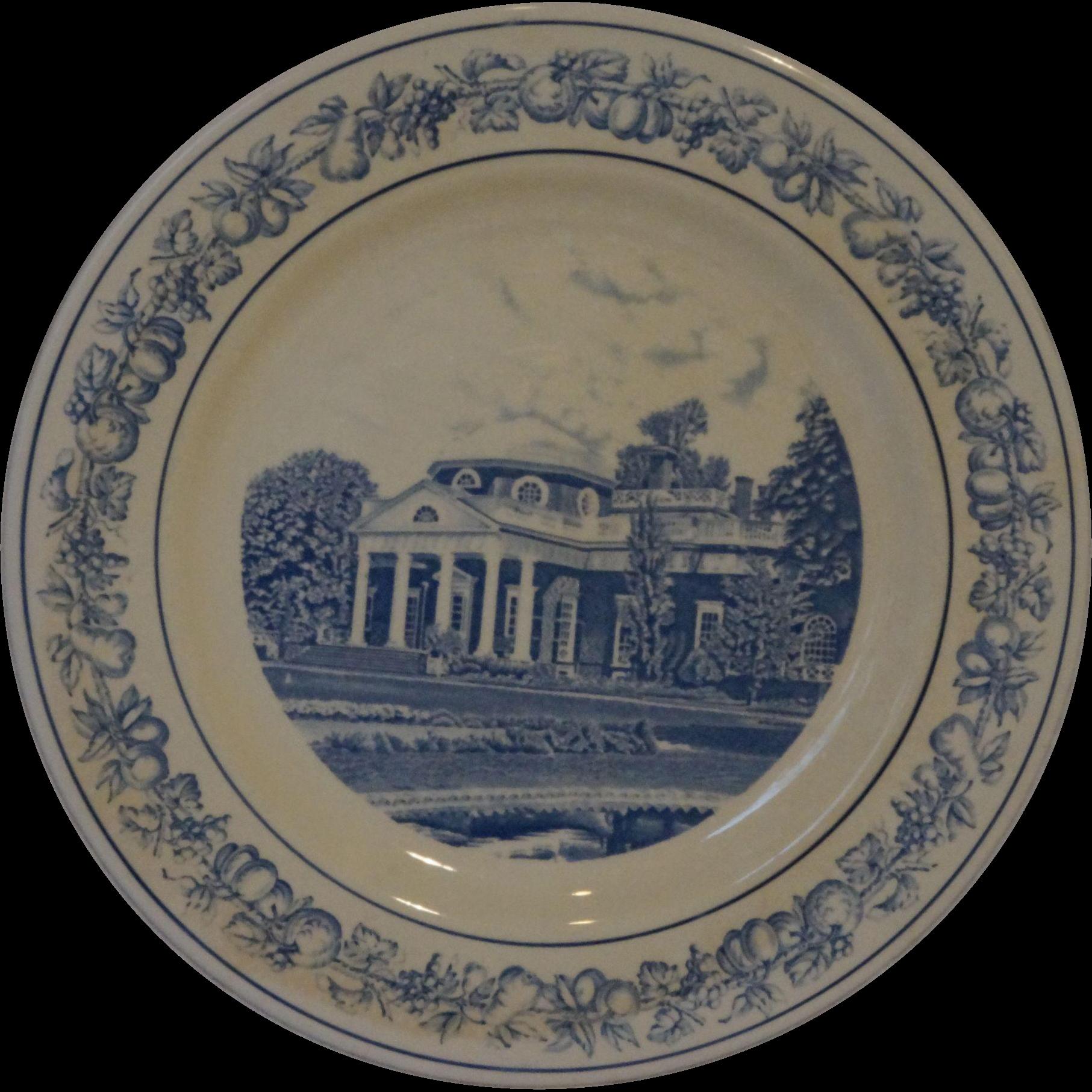 Monticello Gift Shop Spode Copeland Monticello Souvenir Plate Blue Transferware