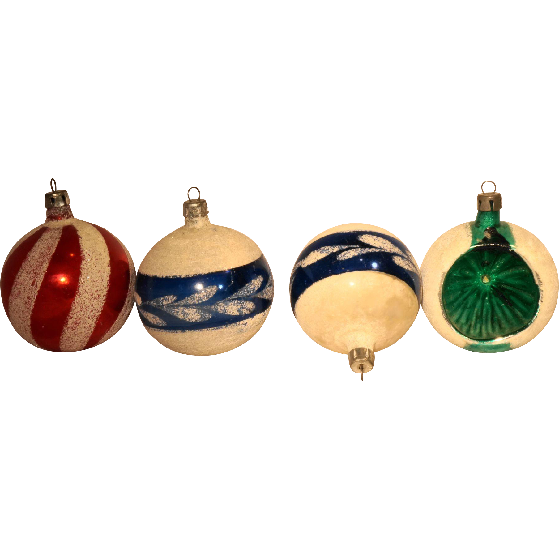 Poland Hand Painted Christmas Ornaments Set of 4 Mica Glitter 2 IN Balls Indent