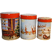Merry Christmas Santa Tree Reindeer Scenes Canister Set Made in Hong Kong