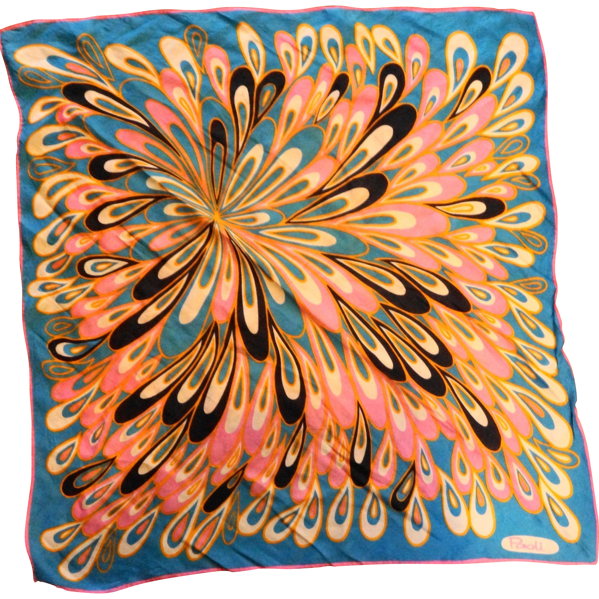 Paoli Op Art Peacock Feather PInk Blue Gold Square Scarf