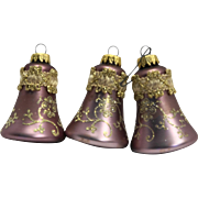 Krebs West Germany Mauve Lilac Christmas Ornaments Bells Gold Embellished Mica