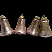 Krebs West Germany Pink Christmas Ornaments Bells Gold Embellished Mica