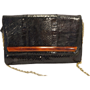 Palizzio Black Snakeskin Envelope Style Purse Marbled Lucite Bar Accent
