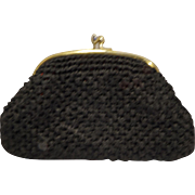 Black Raffia Clutch Purse Large Kiss Clasp Made in Japan