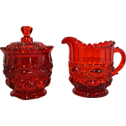 L G Wright Eyewinker Ruby Red Glass Cream and Sugar