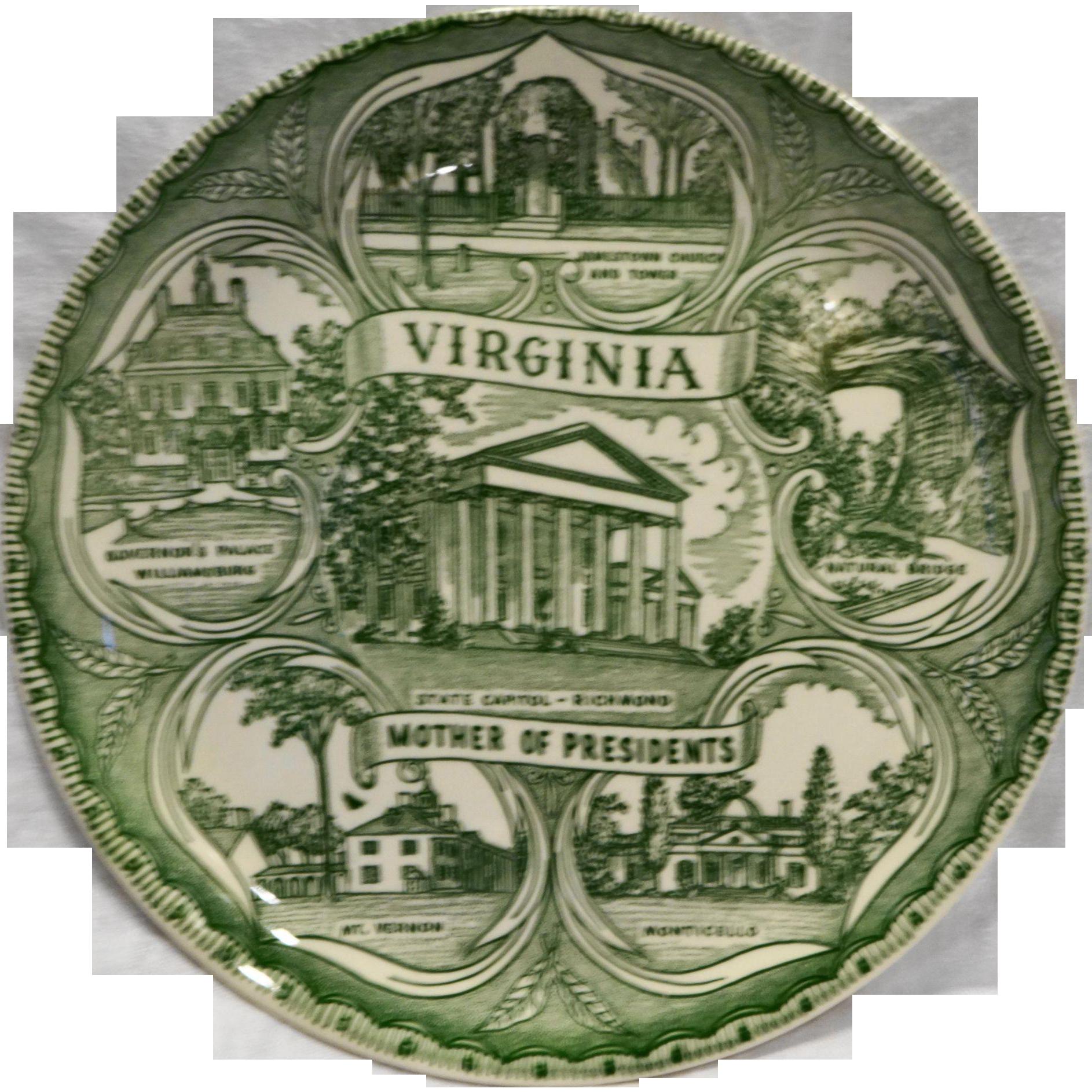 Virginia Green Transferware Souvenir Plate Mother of Presidents Mt Vernon Monticello