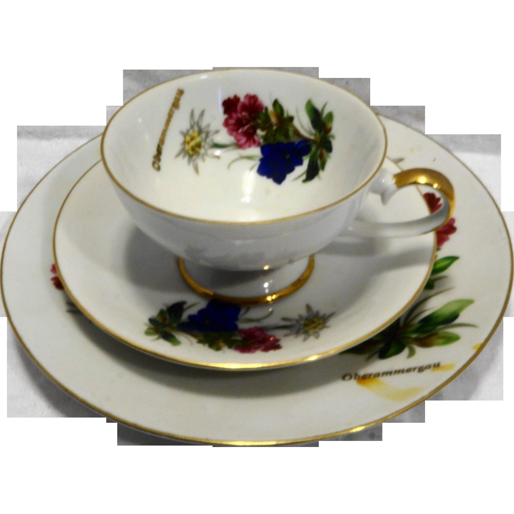 Bareuther Waldsassen Bavaria Tea Trio Floral Oberammergau Souvenir