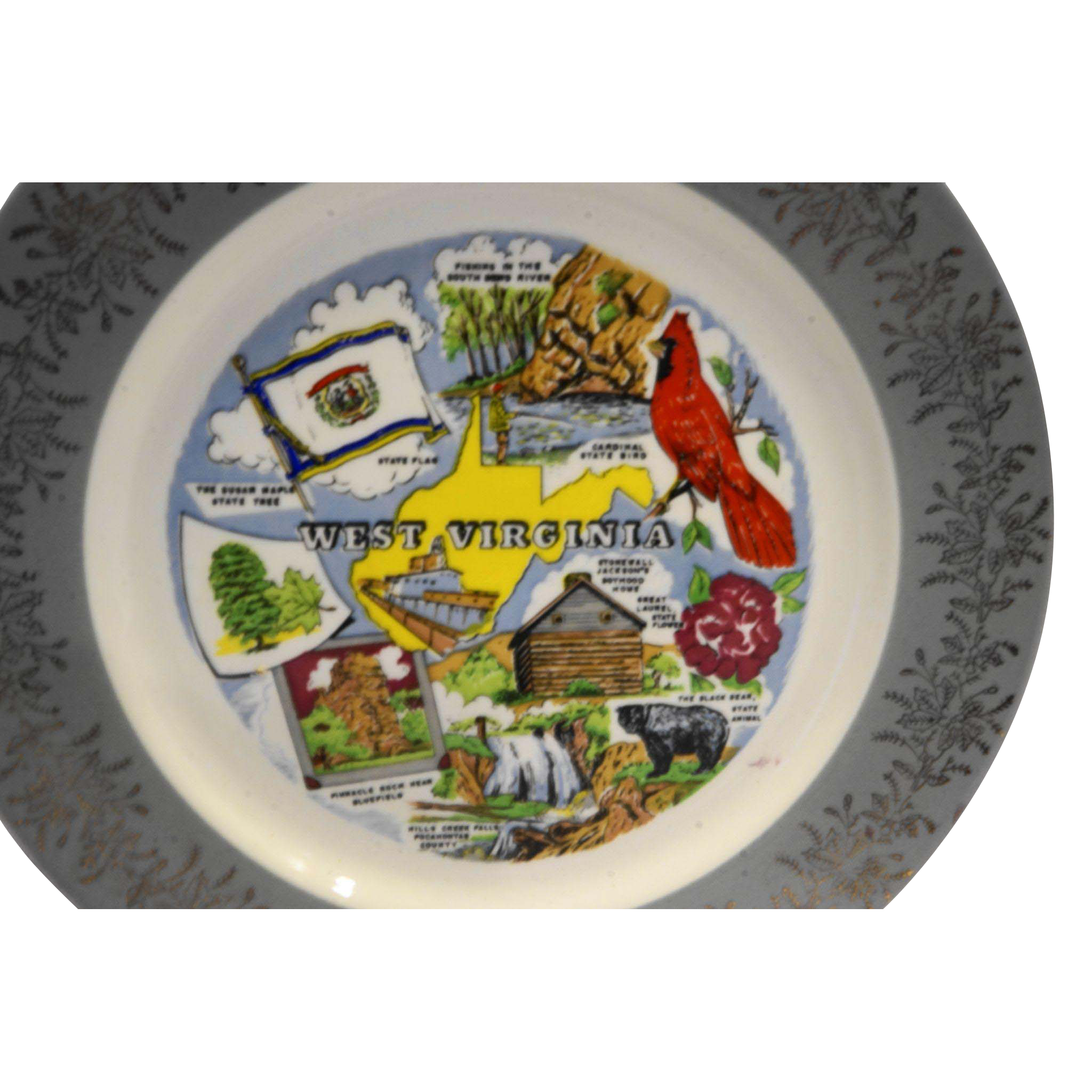 West Virginia Souvenir Plate Colorful Scenes Grey Rim Gold Floral