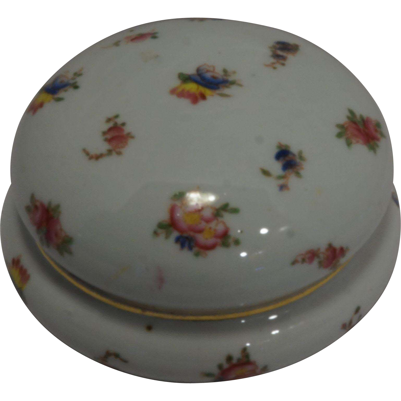 Porcelain Round Powder Dresser Trinket Box Hand Painted Flowers Gold Trim