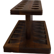 Decatur Industries Walnut Hardwood Pipe Rack Holder 12 Slot