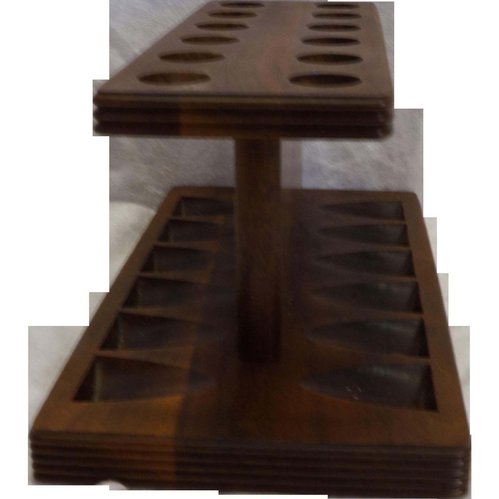 Decatur Industries Walnut Hardwood Pipe Rack Holder 12 Slot