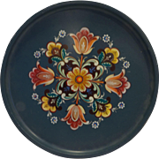 Rosemaling Transfer Print Floral Metal Round Tray Norway Folk Art