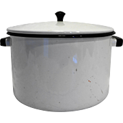 White Black Enamel Stock Pot 8 Qt 8 x 10