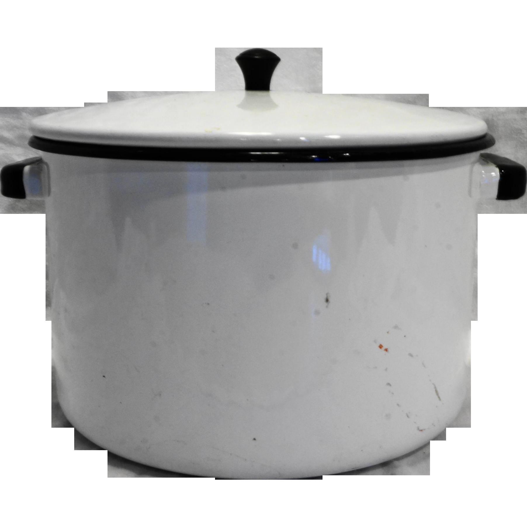 White Black Enamel Stock Pot 8 Qt 8 x 10