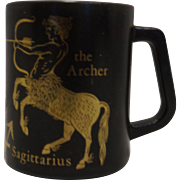 Sagittarius Zodiac Mug Federal Glass Black Gold Milk Glass