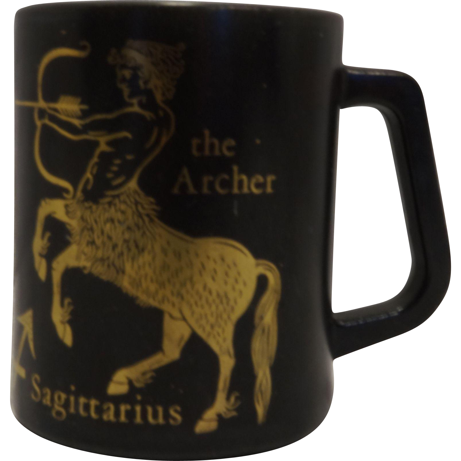 Sagittarius Zodiac Mug Federal Glass Black Gold Milk Glass
