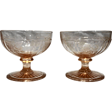 Pink Mayfair Open Rose Sherbets Pair Anchor Hocking Depression Glass
