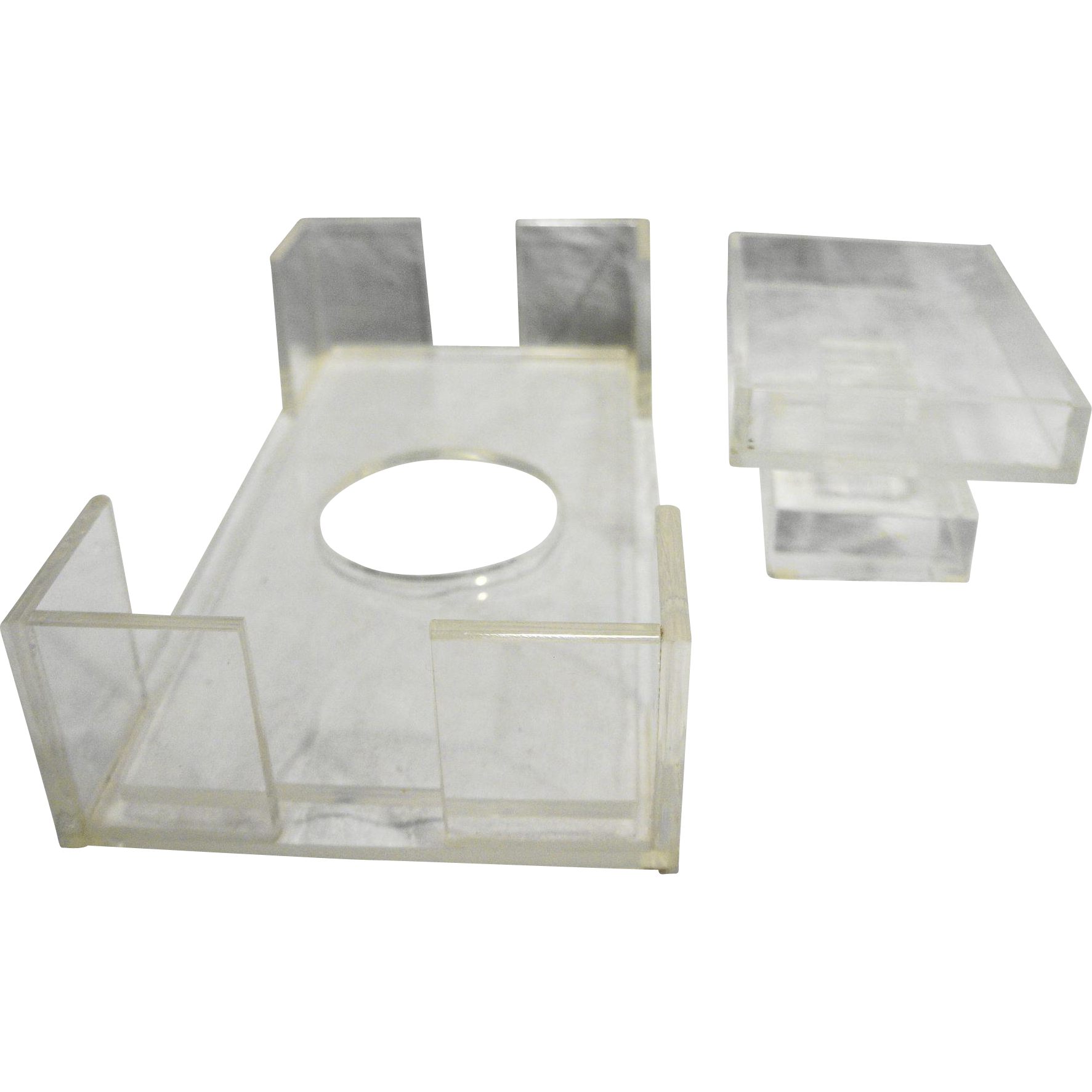 Clear Lucite Acrylic Plastic Tissue Box Holder Soap Dish Bathroom Set 1970s