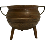 Copper Kettle Shaped Planter Spittoon 3 Legs