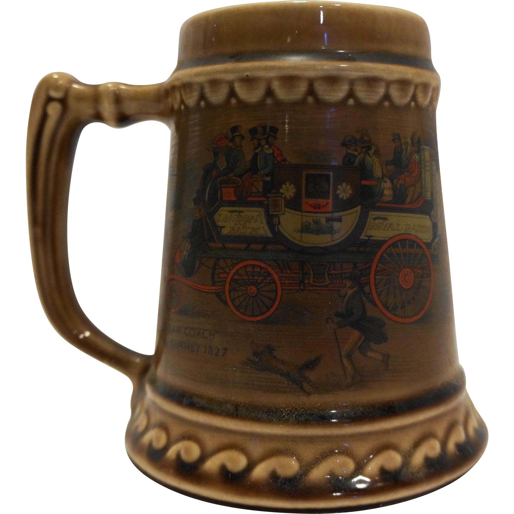 McCoy Steam Coach by Guerney Beer Stein Mug Brown Glazed