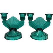 Jeannette Depression Glass Swirl Ultramarine Blue Green Double Light Candle Holders Pair