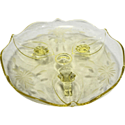 Lancaster Yellow Topaz Depression Glass 3 Toed 6 IN Dish Cut Floral Design
