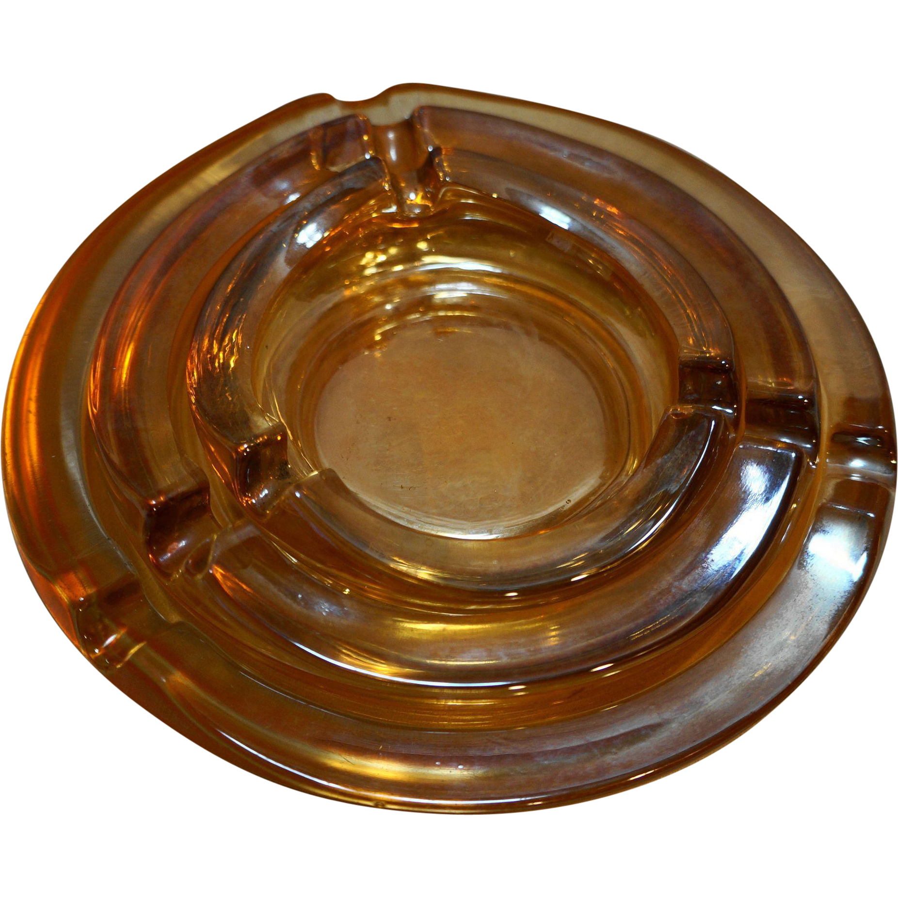 Marigold Carnival Depression Glass Nesting Ashtrays Pair