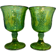 Green Carnival Indiana Glass Grape Harvest Pattern Goblets Pair