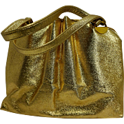 Ila of California Gold Leather Large Handbag Purse 1960s-70s