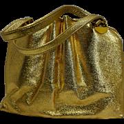 Ila of California Gold Leather Large Handbag Purse 1960s-70s