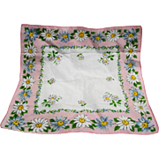 Pink Border Daisy Print Cotton Ladies' Handkerchief