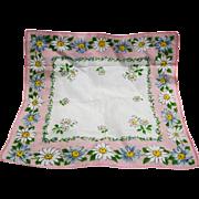 Pink Border Daisy Print Cotton Ladies' Handkerchief