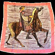 Alexander the Great Greek Warrior Horseback Large Scarf Pink Border 31 IN