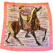 Alexander the Great Greek Warrior Horseback Large Scarf Pink Border 31 IN